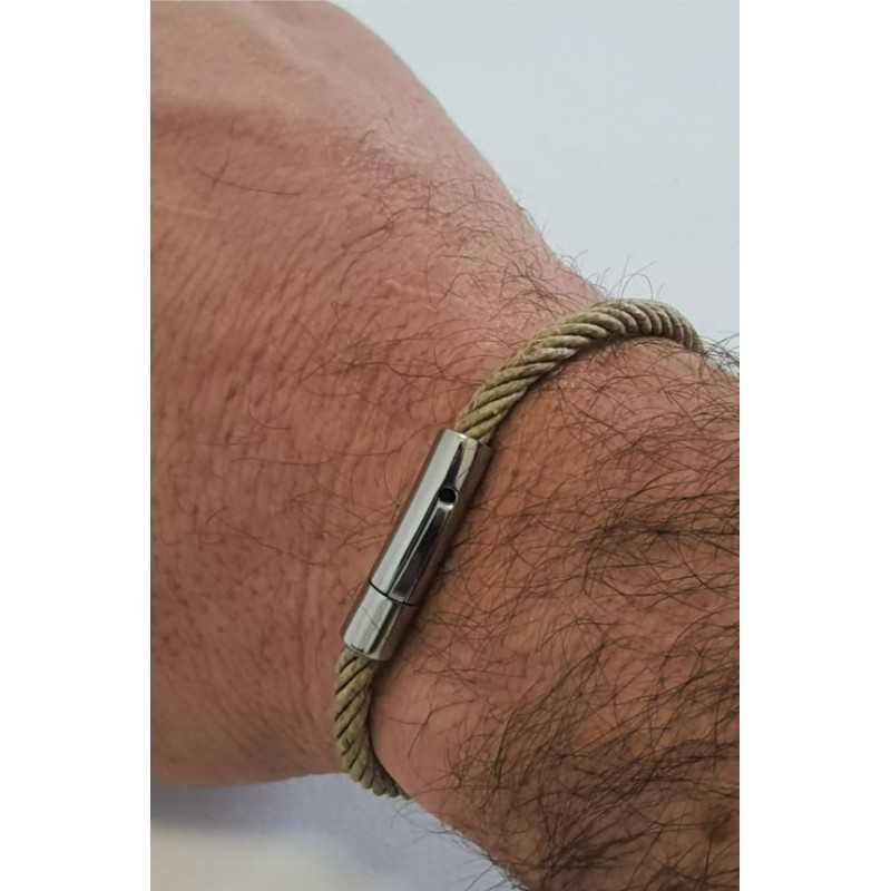 Bracelet corde 100% Bio en chanvre naturel et Acier made in france Avalon Gear