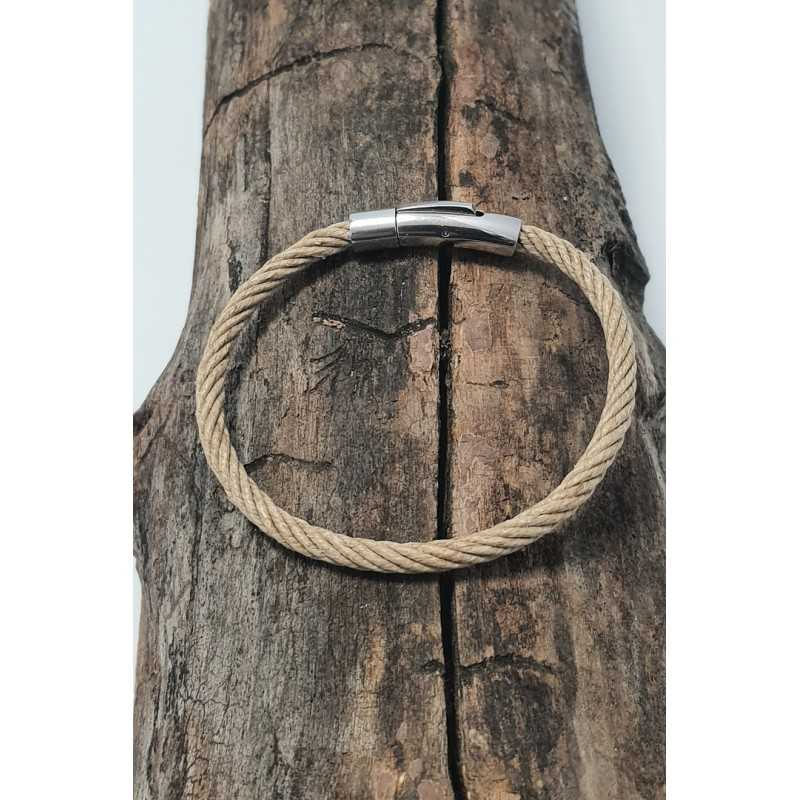 Bracelet corde Bio en chanvre naturel et Acier made in france Avalon Gear